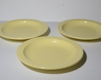 Vintage, Set of 3, MELMAC, GPL, Light yellow, deep plate, Mid century, Hard Plastic, Melamine, Dinnerware, Canada, pastel, 1954, 311