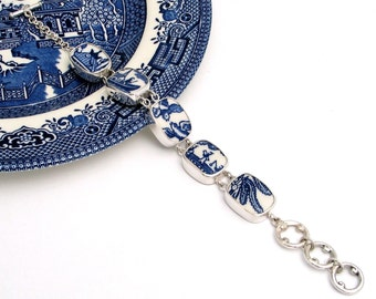 Broken China Jewelry Blue Willow Storyline Sterling Silver Bracelet