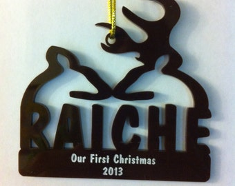Personalized Custom Acrylic Our First Christmas Ornament Buck and Doe Wedding Christmas Ornament