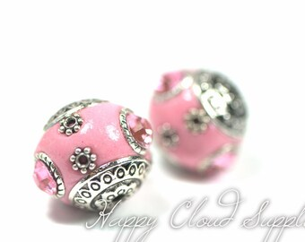 Pink Indonesian Clay Bead with Metal and Rhinestone Accents... 2pcs