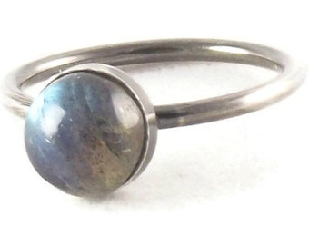 Labradorite Ring, Sterling silver and labradorite ring, stacking ring, flashy labradorite ring, silver ring, oxidized silver,