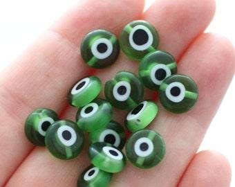 12pc-10mm green tiny evil eye beads, flat glass beads, lamp work beads, green evil eye, glass beads, handmade, round glass beads, DIY beads
