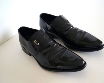 FABIANO shoes Mens Leather shoes Hand Made in Italy Eur size 43 genuine leather Lacquered Black Mens shoes Varnished Shoes Handmade shoes