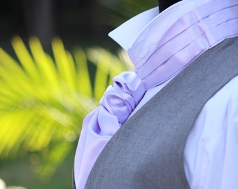 Men's Lavender Cravat Ascot Mens Tie Wedding Day Cravat Ascot Mens Tie