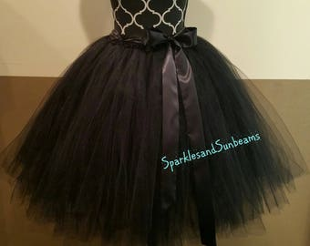 FULLY LINED Solid Black Adult Tutu/ Bridal Tutu, Bachelorette Tutu, Adult Tulle Skirt  Bridesmaid Tutus