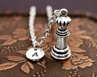 Queen Chess Necklace, Initial Necklace Personalized Necklace, Pendant Necklace, Custom Necklace, Stamped Necklace, Monogram, Charm Necklace