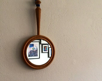 Vintage/mirror/Swedish/handmade/hand mirror/wood
