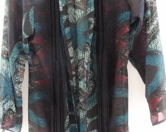 Long printed kimono wild