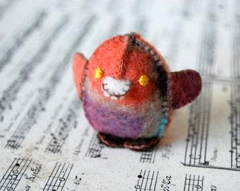 Red Felted Baby Chicken Toy -- Handmade Felt Pure Wool Unique Baby Chicken