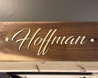 Personalized Walnut and Birch Wall Sign
