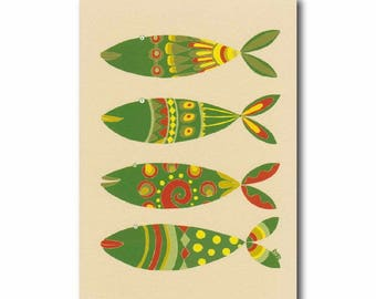 4 fish art print, Kitchen wall decor, Colorful fish print, Kids room wall art, Green orange yellow, 5x7