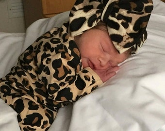Monogrammed vinyl Leopard Gown; Personalized Gown; Oversized Bow Turban