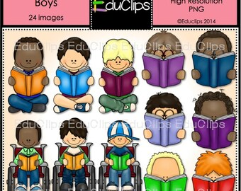 Reading 2 - Boys - Clip Art Bundle