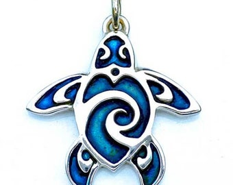 Sea turtle necklace, blue turtle tattoo charm necklace, sterling silver pendant with a blue patina.