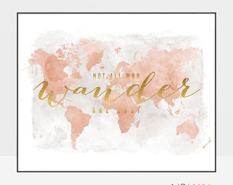 World map poster, Large world map, World map art, World map wall art, Travel map, not all who wander are lost, faux gold ArtPrintsVicky