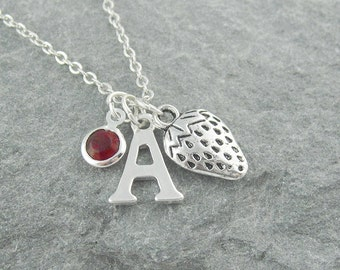 Strawberry necklace, silver strawberry pendant, initial necklace, swarovski birthstone, personalized jewelry, fruit jewelry, charm necklace