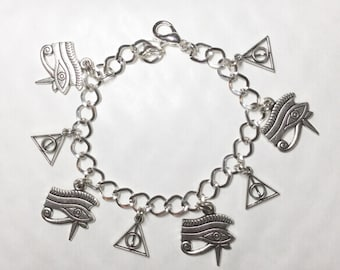 Egyptian Mystical eye of Horus pyramid bracelet silver tone charms Egypt choice of lengths from 19-21 cm