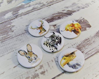 Scotland Wild Life, 25mm set of 5. Includes Stag, Hare, Highland Cow, Lynx and Eagle
