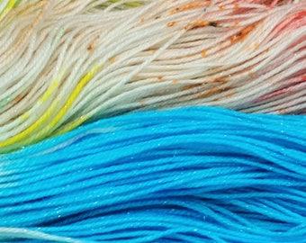 Hand Dyed Yarn - {Dorothy Gale} - Hermes Sock - Freckle Dyed Yarn - Sock Yarn - Superwash Merino & Silver Stellina