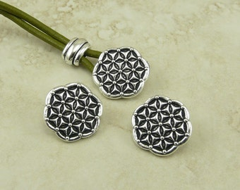 3 TierraCast Flower of Life Buttons > Floral Pattern Texture Wrap Button - Silver Plated LEAD FREE Pewter - I ship Internationally 6570