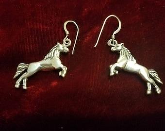 Silver Dangling Earring Horses