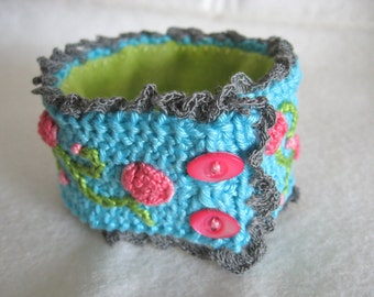 Turquoise Knit Cuff with Coral Embroidered Roses and Button Closure