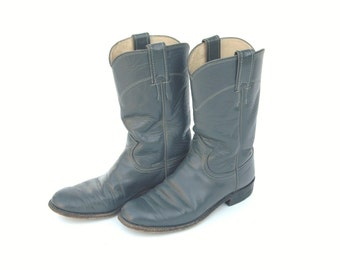 80s/90s Grey Cowboy Boots Justin Roper Women's Leather Vintage Boots Size 5.5