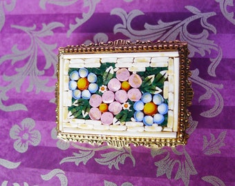Italian Mosaic Jewelry, Italy Mosaic Pin, Floral Mosaic Brooch, Smalti Tile, Vintage Jewelry, Pink White Blue Flowers, Framed Mosaic Pin