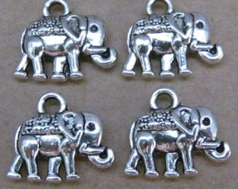 Small elephant charms double sided silver-plated (x 5)