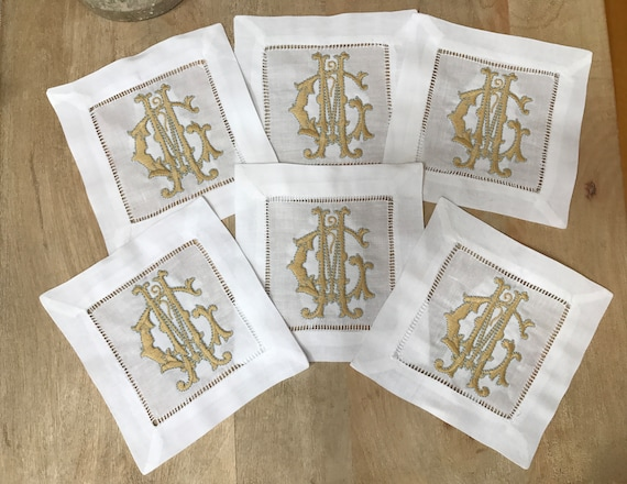 Cocktail Napkins with Double Initial Monogram Set of Six