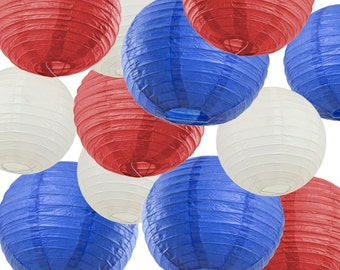 18-Pack Royal Blue Red White Round Paper Lantern Lampshade for Wedding Birthday Shower Party Decoration