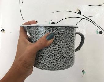 1 QT Pitcher Rare Spongeware Pattern Graniteware Black Grey Color Vintage Enamelware Camping Shabby White Kitchen Tea Steeper