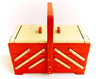 Sewing Box, Wooden Jewelry Organizer, Storage Box, Jewelry Storage, Sewing Basket, Knitting Basket, Shabby Chic, Boho Decor, German Vintage.