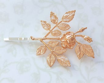 Rose Gold Rose Blossom and Leaves Hair Pin, Bobby Pin, Beauty & the Beast, Woodland, Rustic, Garden Wedding,  Vintage Bridal Hair