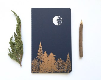Letterpress Moleskine Journal - Moon & Trees