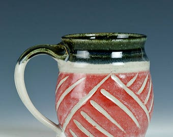 Red Carved Stoneware Mug for Coffee, Latte, Tea, Stoneware, Blue, Green inside. 9 oz cap. Hand Thrown, Painted and Carved!