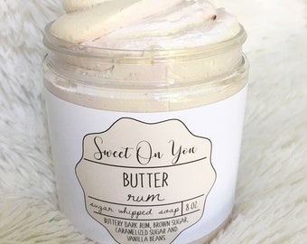 Butter Rum, Sugar Whipped Soap, Sugar Scrub, Body Polish, Exfoliate, Bath and Beauty, Soap, Whipped Soap, Beauty, Dessert Beauty