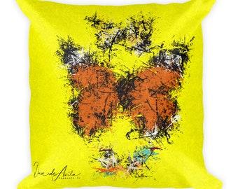 3 Butterflies Splatter Abstract Square Pillow