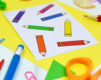 Crayon sticker set - pencil stickers - rainbow sticker collection - gift for school teacher - thank you teacher gift - colourful stationery