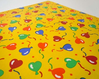 Vintage 1980's Birthday Wrapping Paper Yellow Balloon Gift Wrap