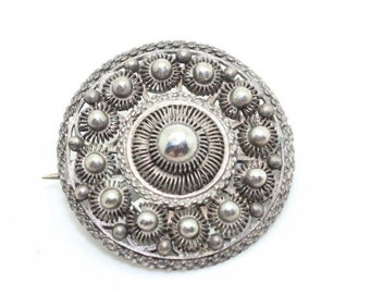 ON SALE Lovely Ornate Art Deco Sterling Silver Round Filligree Openwork Pin Brooch-Antique Estate Jewelry!