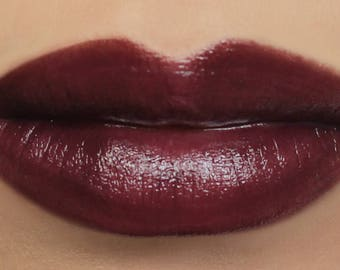 "Vegan Mineral Lipstick - ""Dark Heart"" (dark purple burgundy lipstick) natural lip color"