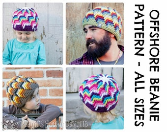 CROCHET HAT PATTERNS - Offshore Beanie - Adults & Kids Sizes