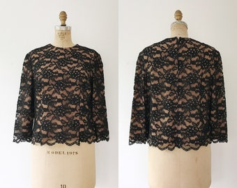1950s lace blouse / 50s black blouse / 50s evening blouse