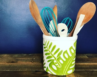 Utensil holder, large container green, palm leaves, hand painted ceramic pottery