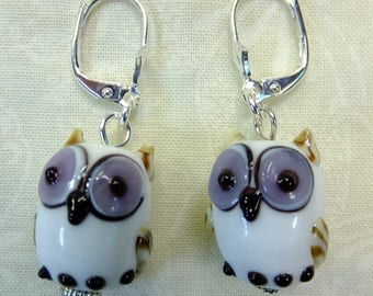 Owls in Lavender, Black, Tan, and White Lampglass Beads Dangle Earrings