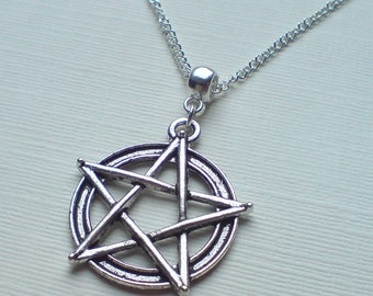 Silver Pentagram Necklace , Silver Pentacle Necklace , Wicca Necklace , Pagan Necklace , Wiccan Jewellery , Pagan Gift , Handmade Jewelry