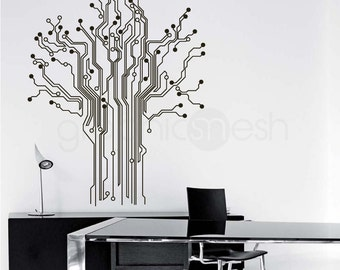Circuit Board Tree WALL DECAL Removable abstract tech shapes decor for home & office
