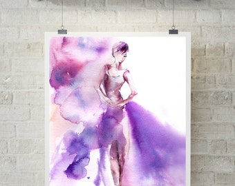 Ballerina Art Print, watercolor print, ballet dance wall art, purple ballerina painting, print of ballerina, watercolor painting modern art