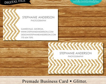 Premade Business Card. Glitter chevron design. Printable Business Card Design.